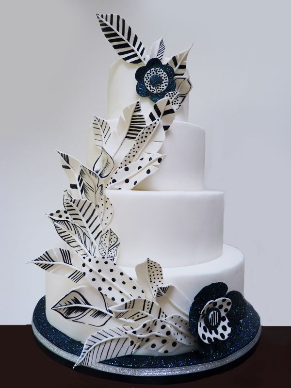 square black and white wedding cakes pictures%0A Cool black and white graphic feather and floral wedding cake