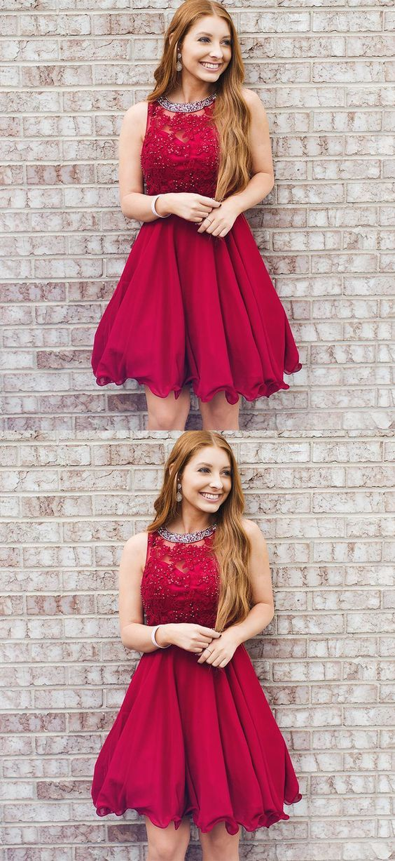 f71a4fddd8 Cute A Line Round Neck Red Beaded Rose Red Short Homecoming Dresses with  Applique
