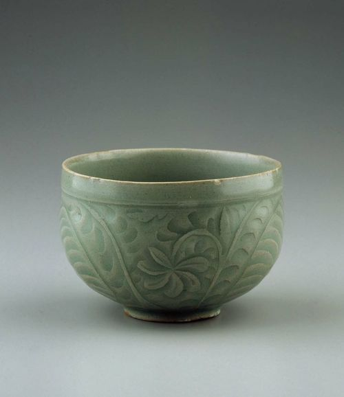 Celedon Bowl with lotus arabesque, made in Korea in the 11-12th century (Goryeo Dynasty).