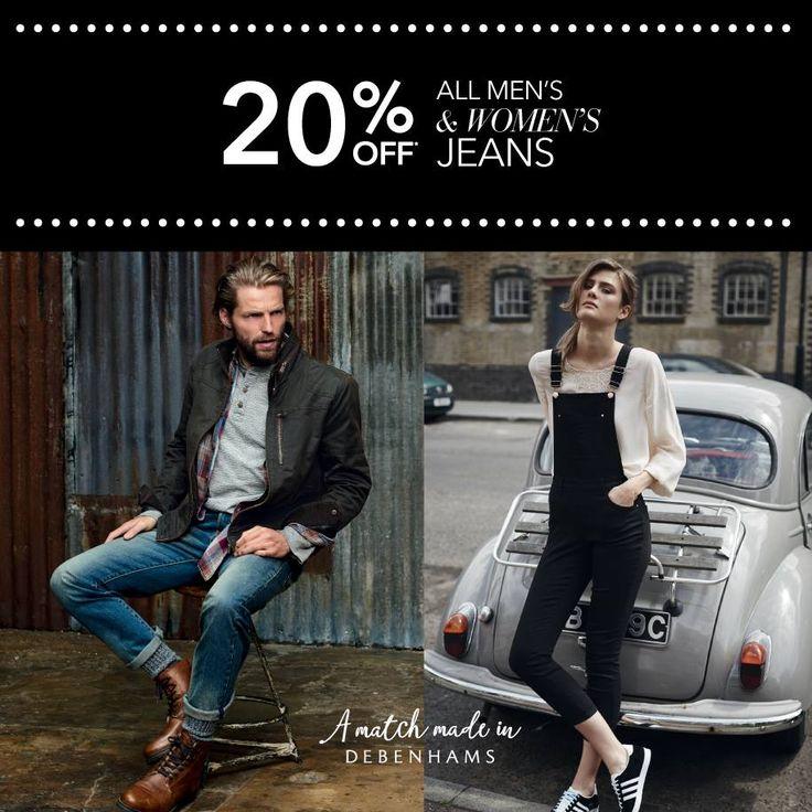 Straight, Skinny, Bootcut, boyfriend ή καμπάνα; Μονόχρωμα, ξεβαμμένα, σκουρόχρωμα, πετροπλυμένα ή ξεφτισμένα; Όποιο τζιν παντελόνι και αν προτιμάς στα πολυκαταστήματα Debenhams, θα βρεις σίγουρα αυτό που ψάχνεις! Μέχρι και 25 Σεπτεμβρίου, επισκεφθείτε τα πολυκαταστήματα Debenhams και επωφεληθείτε με 20% έκπτωση στα γυναικεία και ανδρικά τζιν επώνυμων οίκων