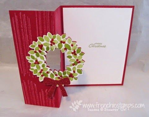 Cherry Cobbler Wondrous Wreath Flip Card, Stamp & Scrap with Frenchie