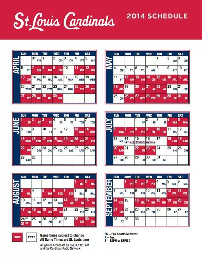 St. Louis Cardinals 2014 schedule