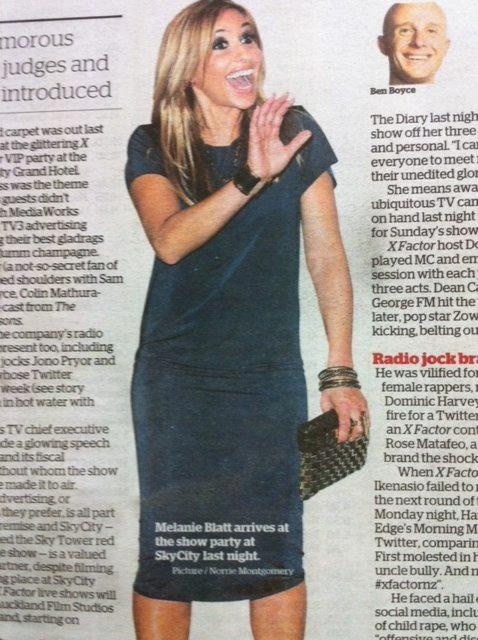 #melanieblatt in the new TK French T Dress  the X factor NZ show party  #xfactornz #nzfashion #tk store