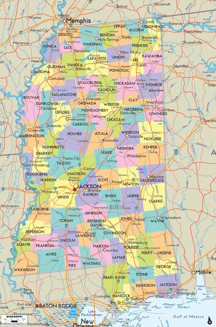 Map of State of Mississippi with cities towns and