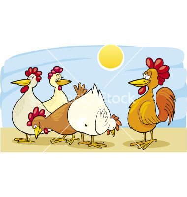 free images to sew hens or roosters | Cartoon rooster and hens vector 109761 - by Igor_Zakowski
