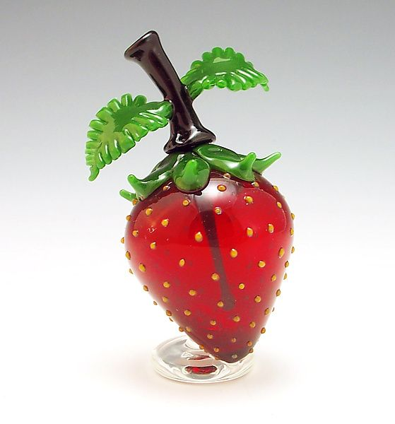 Strawberry Perfume: Garrett Keisling: Art Glass Perfume Bottle | Artful Home