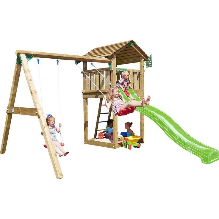 JUNGLE GYM Spielturm-Set Lauras COTTAGE mit Doppelschaukel Rutsche Leiter Holz