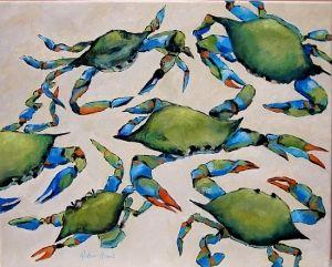 Blue Crabs on the Beach - Coastal Artwork