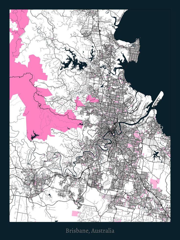 Brisbane, Australia. City Map by Project Jefferson. White pink navy