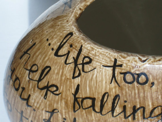 "Circular Vase with Hand Painted Lyrics Elvis Presley's ""I Can't Help Falling In Love With You"" by Noelani's, $45.00"