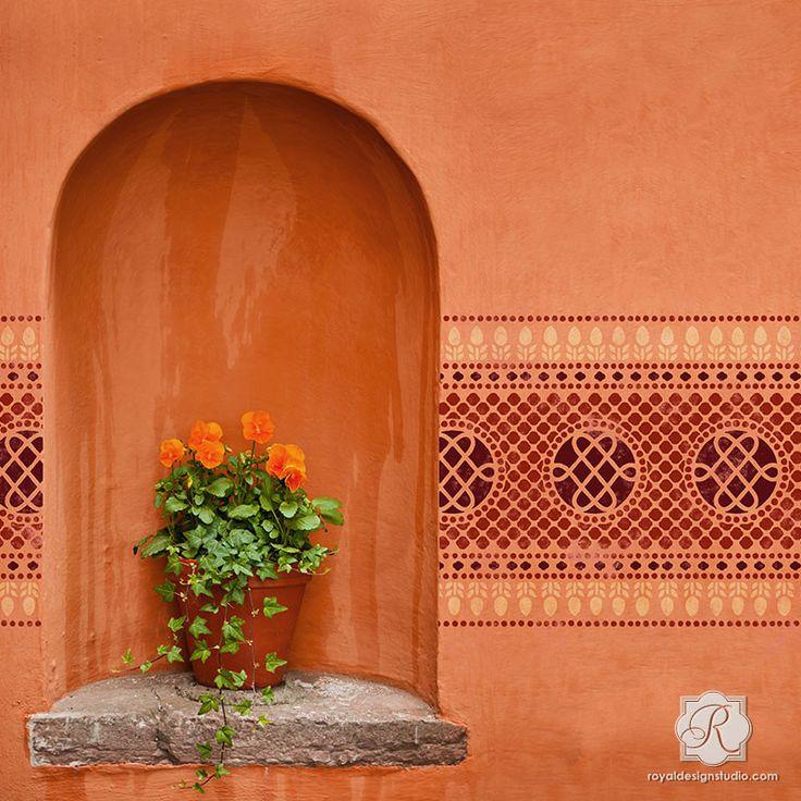 244 best stencil ideas images on pinterest - Oriental stencils for walls ...