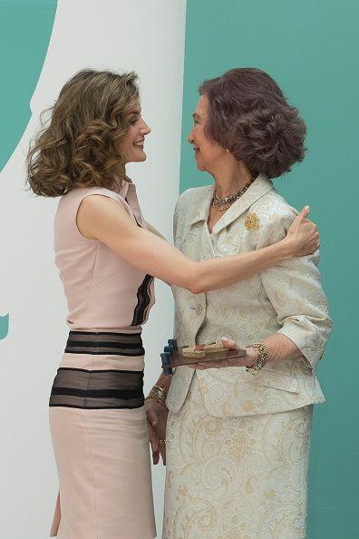 Spanish Queen Letizia and Spanish Queen Sofia during the conmemorative ceremony…