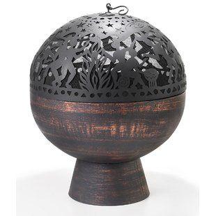 SunnyDaze Decor Sphere Flaming Ball Steel Wood Fire Pit | Wayfair