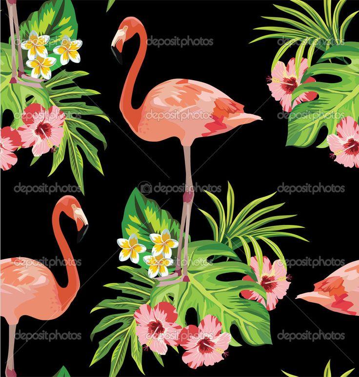 Фламинго, тропическими цветами и пальмовыми листьями бесшовный фон - Векторная картинка: 47237909