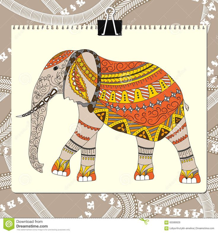 Zentangle Stylized Elephant. Animal Collection. Hand Drawn Doodle. Ethnic Patterned Vector Illustration. African, Indian Stock Vector - Image: 65589929