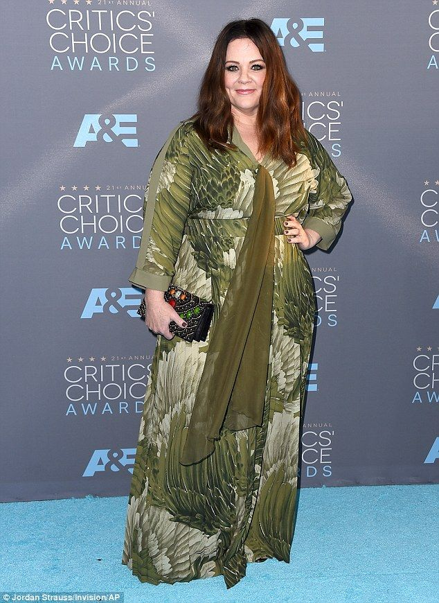 Green with envy: Melissa McCarthy was gorgeous in green as she attended the 2016 Critics' Choice Awards in Santa Monica, CA on Sunday