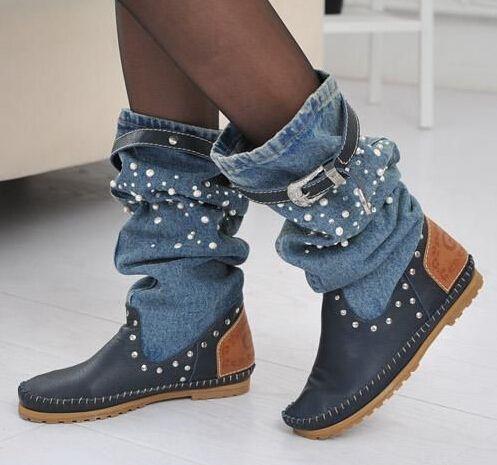 Mode Denim Laarzen Flats Ronde Neus Vrouwen Schoenen 2 Kleuren Cowboy Booties Naaien Regen Laarzen Mid-Kalf Schoenen Vrouw Botas Mujer 2015