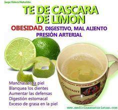 Receta muy saludable para combatir la obesidad, limpiar el sistema digestivo, eliminar el mal aliento, etc. TE DE LIMON (Fácil y Sencilla) Preparacion: Colocar al fuego 1 litro de agua. Agregar la cáscara de 2 limones y hervir por 15 minutos. Cuando apagues el fuego, agregar el zumo de los 2 limones. Endulzar con miel, sucralosa o stevia. El té de limón puedes tomarlo frío o caliente después de cada comida, excepto en el desayuno que es conveniente tomarlo en ayunas.