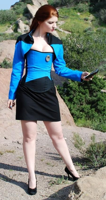 Updated Star Trek Uniform (via Steven Gonzales). [Star Trek TNG inspired corseted blue uniform, this one I believe done by @Becky Jordan; I think she's the model too. Very pretty lady. -BDITSS]
