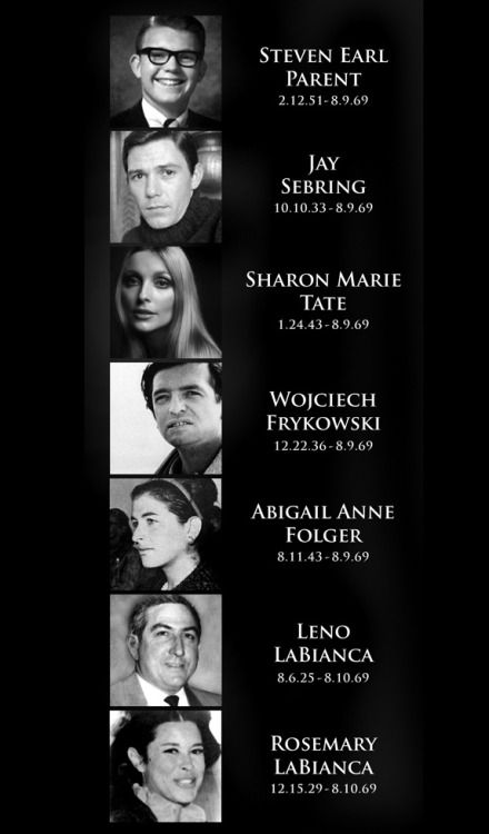 August 9-10, 1969:On this night in Los Angeles, followers led by Charles Manson murder pregnant actress Sharon Tate, coffee heiress Abigail Folger, Polish actor Wojciech Frykowski, men's hairstylist Jay Sebring and recent high-school graduate Steven Parent. The following night, Manson followers murder supermarket executive Leno LaBianca and his wife Rosemary in their home in Los Feliz.