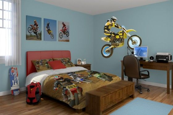 Boys Bedroom Ideas And Themes | Bedroom Ideas for Kids - Decorating a Boy's Bedroom in Motocross | All ...
