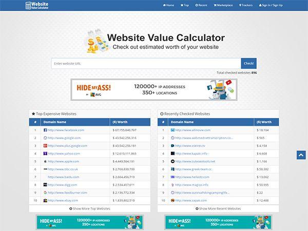 BT Trackers (Website Value Calculator Website)