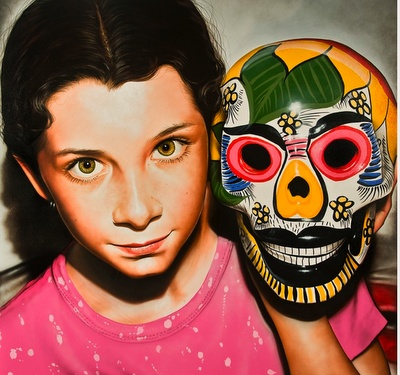 Realistic paintings by Victor Rodriquez (this is a photograph of art - the girl is a painting)