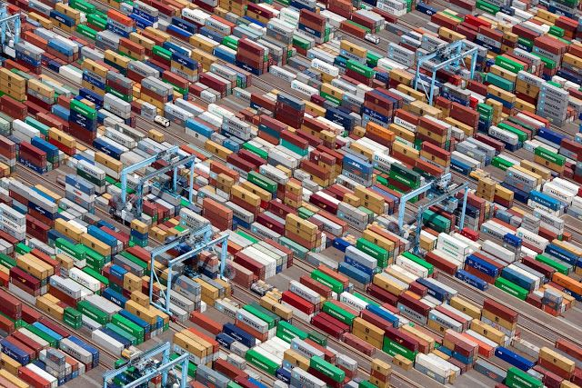 Aerial Photograph Bird Eye View of Containers at a Port