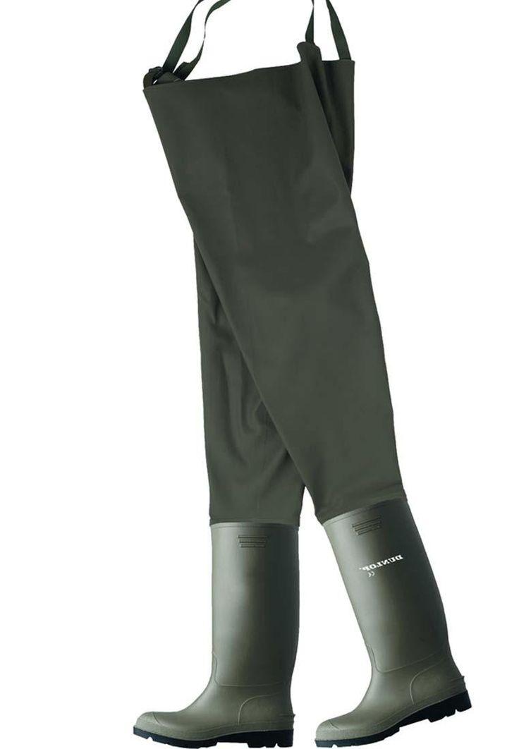 Wathose Dunlop aus PVC / Polyester mit einegearbeitetem Gummistiefel - Dunlop Qualität - grün