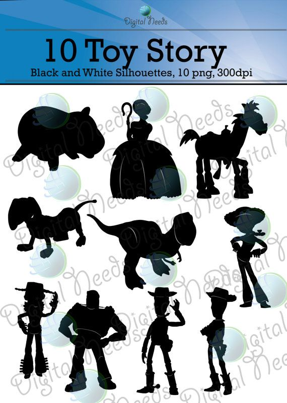 10 Toy Story Silhouettes / png and SOURCE files / by DigitalNeeds