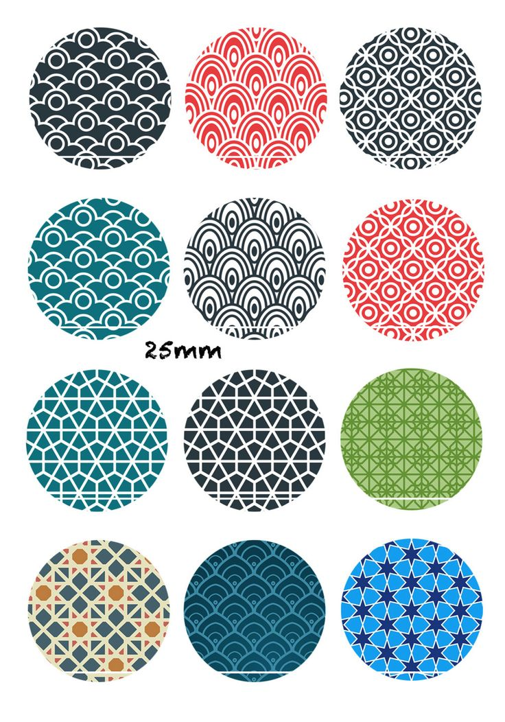 Motif oriental 12 Images/Dessins/collages/Scrapbooking digitales pour cabochon 30/25/20/18/16/15/14/12/10/8 mm Rond/Carré/Ovale