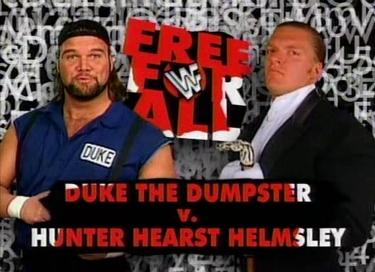 WWF / WWE Royal Rumble 1996: Triple H faced Duke 'The Dumpster' Droese in the Free for All