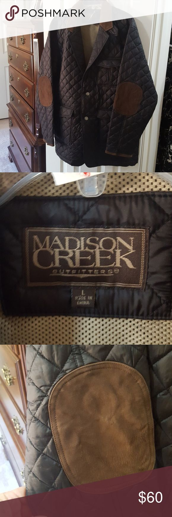 Nwt Madison Creek hunting coat Large Madison Creek Outfitters packable down sport coat hunting coat has suede elbow patches and collar black packable down with two button closure no flaws smoke-free pet-free home excellent condition bought for my son for Sporting Clays however he didn't care for it inside has one zippable pocket 2 gun pockets and a pocket that velcros outside has two large button pockets and then hand pockets and one breast pocket purchase from Mast General Store madison…