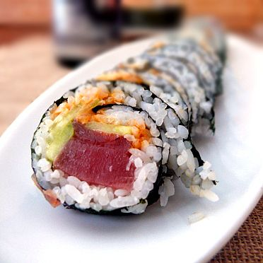 Make at Home Spicy Tuna Rolls order a bowl of edamame, two tuna rolls