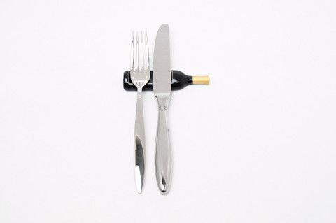 Set of Bordeaux Wine Bottle Shaped Cutlery Rest, Gold