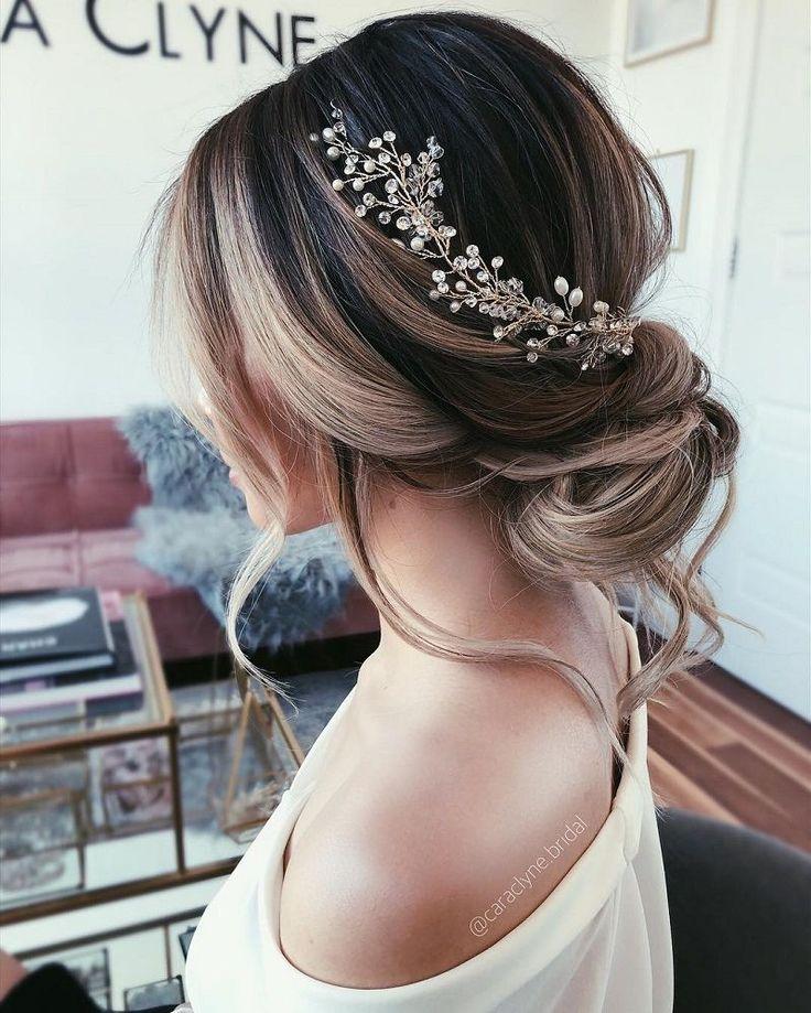 Blown away with these 57 Beautiful Messy wedding hair ,textured updo, soft wavy updo , half up half down bridal hairstyles #weddinghair #weddingupdo #weddinghairstyle #weddinginspiration #bridalupdo