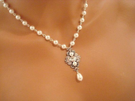 Pearl wedding necklace, bridal necklace, vintage style necklace, rhinestone necklace, pendant necklace, ASHLYN
