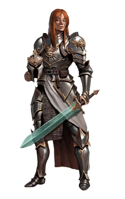 Female Paladin Knight - Pathfinder PFRPG DND D&D d20 fantasy