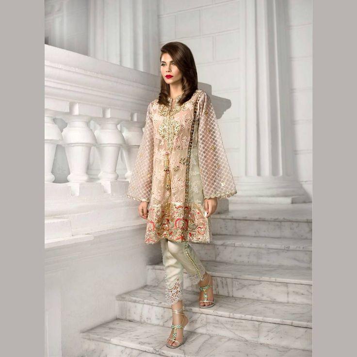 """5 of my favourite summer pastels were put together to create this; Peach, mint, lavender, powder blue and powder grey,"" Ammara Khan.  #summersorbet #luxeformals #fashionpakistan"