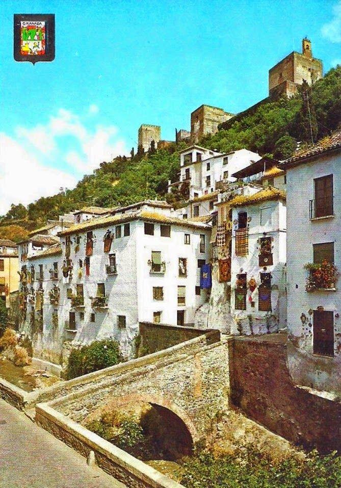 Postales Antiguas de Andalucía: Carrera del Darro y Alhambra (Granada)