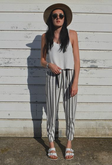 Forever 21 Fedora, Primark Knit Vest, Topshop Trousers, Dotti Sandals, Ray Ban Sunglasses