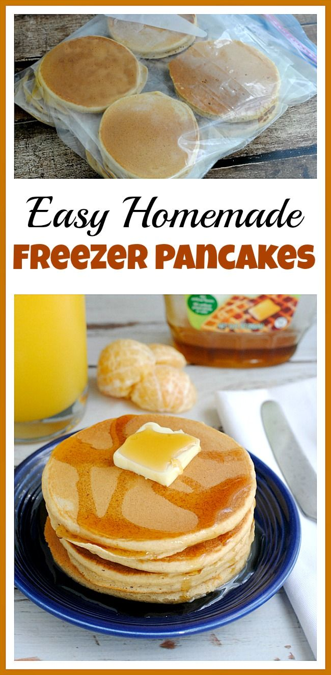 Make Ahead Pancakes! If you're often in a rush in the morning, you don't have to default to cereal, commercial frozen foods or fast food breakfasts! Instead, make your own homemade freezer pancakes! | freezer cooking, freezer meals, breakfast, food
