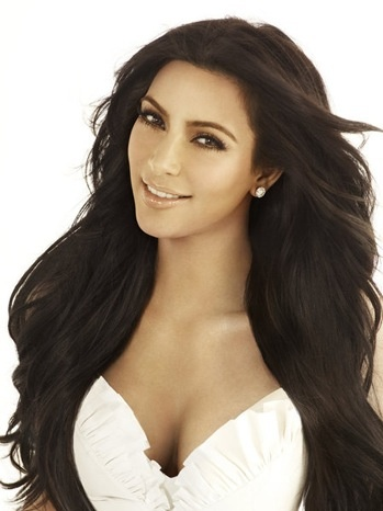 kim kardashian long big volume hair with loose curls