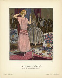 Pierre Brissard poster: La Coiffure Reparee (From Gazette du Bon Ton)