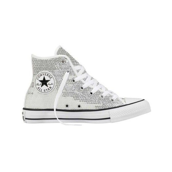 Women's Converse Chuck Taylor All Star Classic Sequin High ($70) ❤ liked on Polyvore featuring shoes, sneakers, casual, lace up flats shoes, sequin flats, laced flats, converse trainers and converse high tops