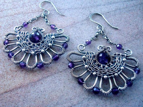 Art Deco/Nouveau style amethyst and silver by Weaversfield on Etsy, £50.00