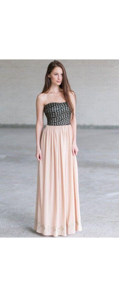 Lily Boutique Black Diamond Strapless Maxi Dress, $54 Cute Maxi Dress Online, Black and Beige Maxi Dress, Juniors Dress Online www.lilyboutique.com