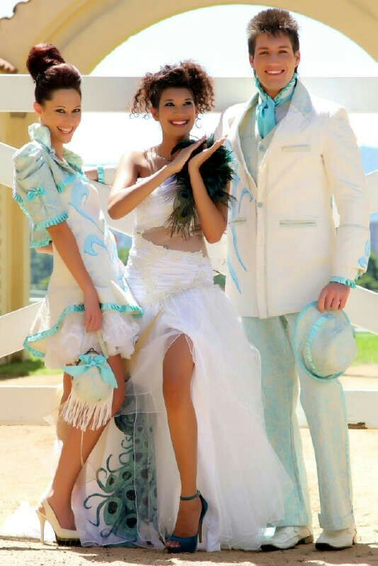 Cream and Turquoise Dresses and Suit by Brenda Waring, Whatevs designs.  Contact Brenda on 0726086399