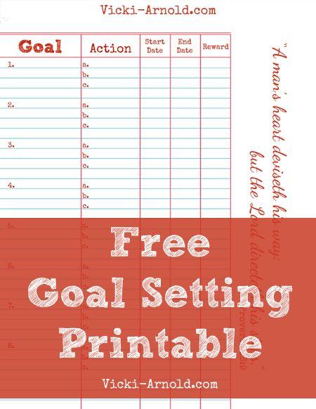 Free Goal Setting Printable Worksheet