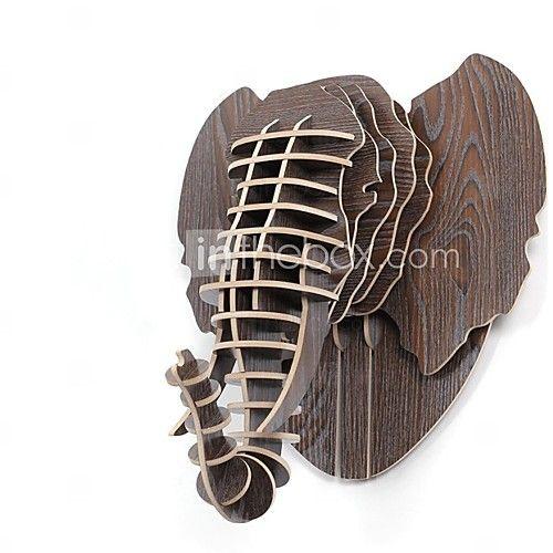 houten kunst aan de muur muur decor, de montage van de olifant kandelaar muur decor | LightInTheBox